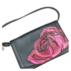 Cole Haan black leather embroider flower crossbody